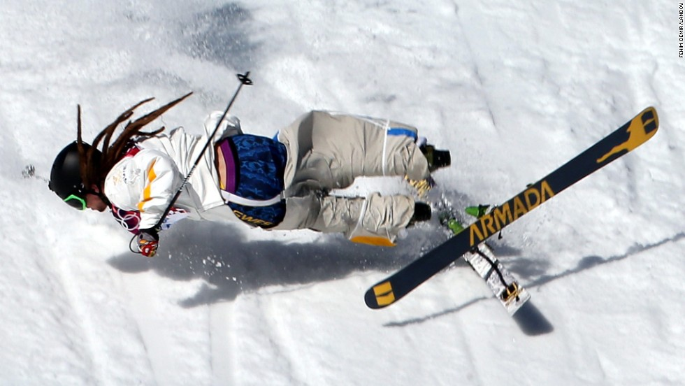 Skier Henrik Harlaut of Sweden falls during the men's slopestyle competition on February 13.