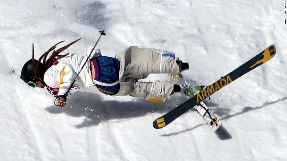 Skier Henrik Harlaut of Sweden falls during the men's slopestyle competition on February 13.