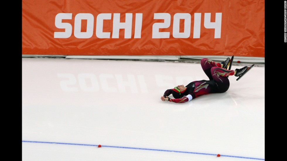 German speedskater Monique Angermueller falls during the women's 1,000 meters.
