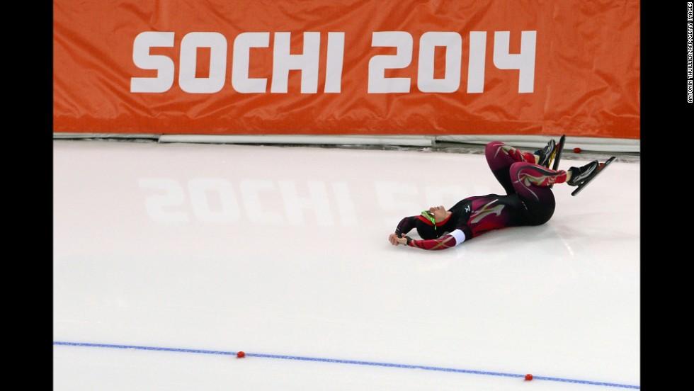 German speedskater Monique Angermueller falls during the women's 1,000 meters.