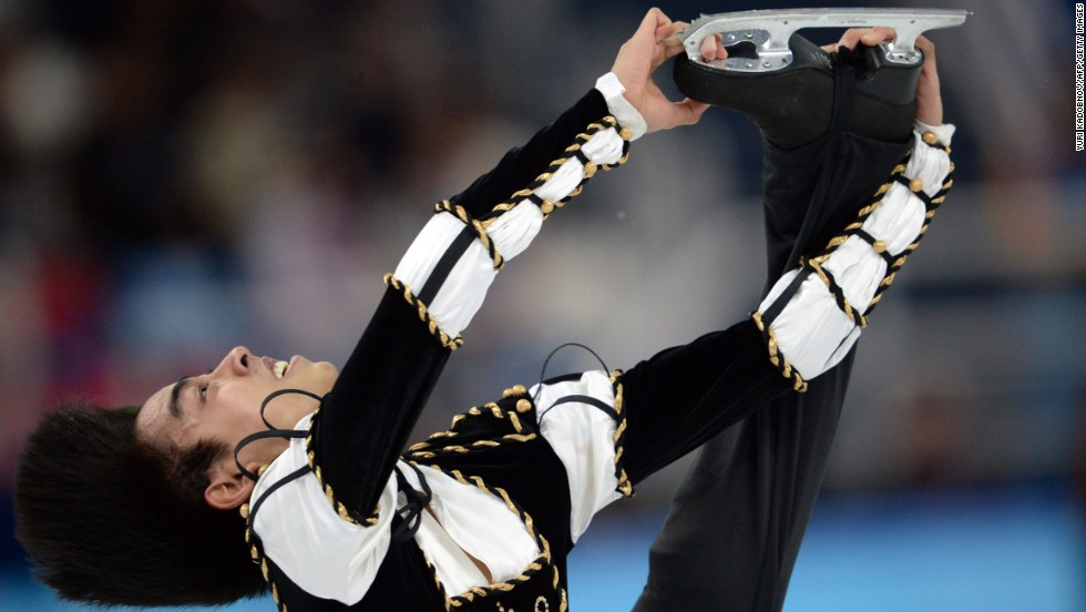 Figure skater Michael Christian Martinez of the Philippines performs during the men's individual competition on February 13.