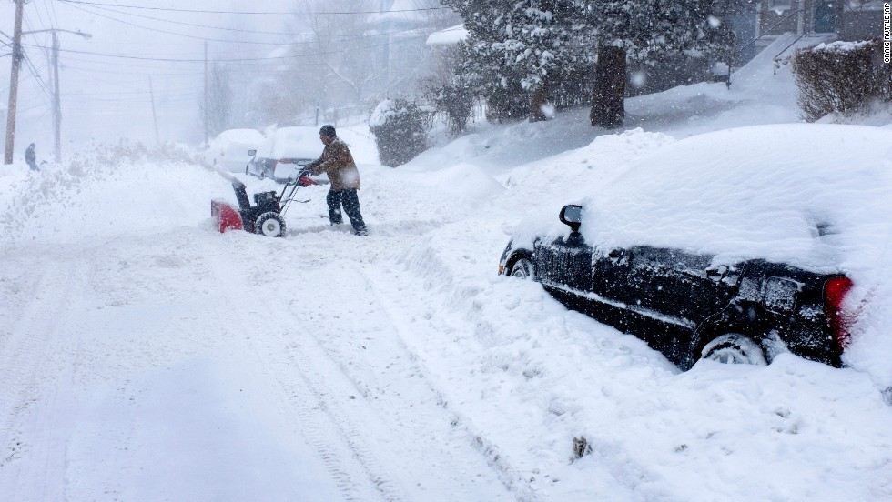 Snow blankets a street in Ossining, New York, on February 13.