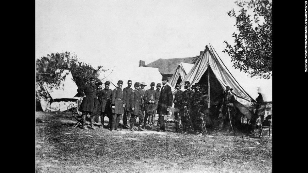 "Another view shows Lincoln with McClellan and his officers at the Antietam battlefield in Maryland. The 1862 battle has been called ""the bloodiest single day in American history"": 23,000 men were killed or injured. After the battle, Lincoln issued the Emancipation Proclamation, which was quickly dubbed the ""Miscegenation Proclamation"" by his pro-slavery foes."