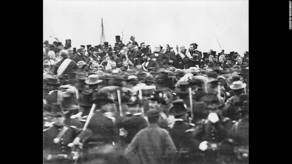 President Lincoln is seen in the distance as he arrives at Gettysburg, Pennsylvania, on November 19, 1863, to  dedicate the Soldiers' National Cemetery. It was 4 1/2 months after the Union armies defeated those of the Confederacy at the Battle of Gettysburg when he delivered his magnificent Gettysburg Address.