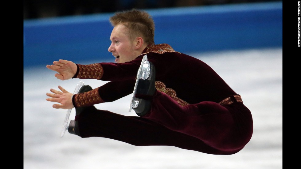 Swedish figure skater Alexander Majorov performs his short program during the men's individual competition on February 13.