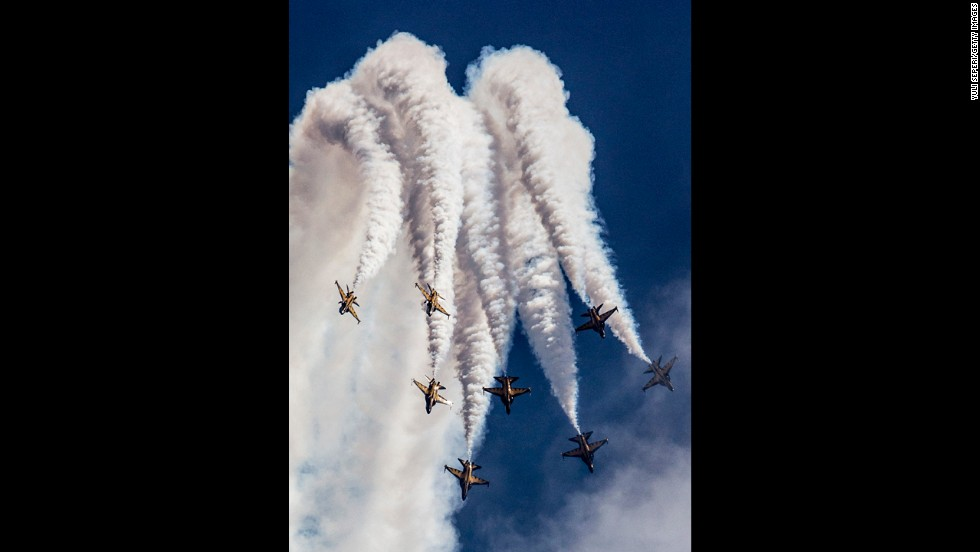 The South Korea Air Force Black Eagles aerobatic team performs during the Singapore Airshow on February 13.