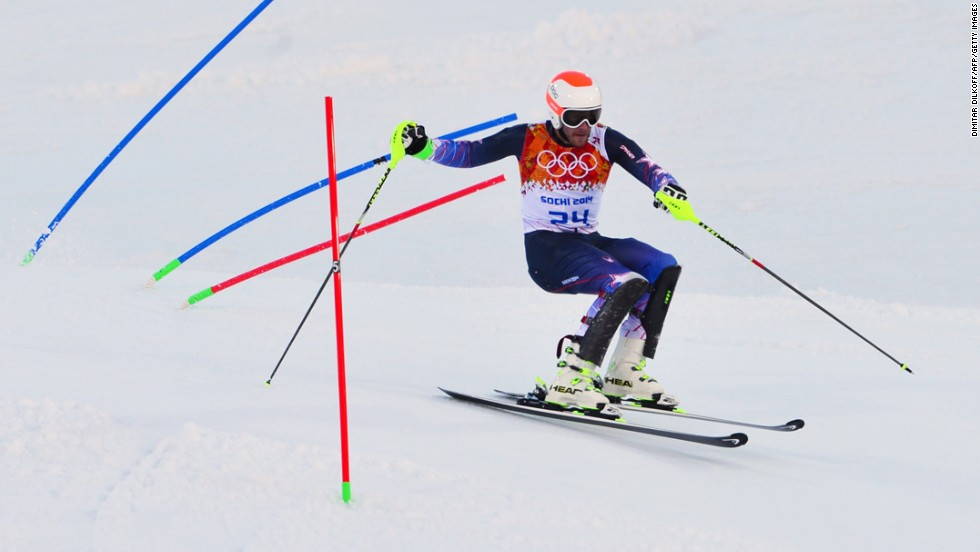 U.S. skier Bode Miller competes in the slalom portion of the men's super-combined on February 14.