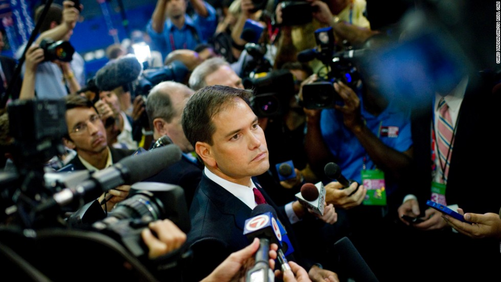 <strong>Don't be perceived as a sellout:</strong> Tea party darling Sen. Marco Rubio, R-Florida, shown here at the 2012 Republican National Convention, is said to have alienated some Latinos outside his native Florida with positions they consider extreme.