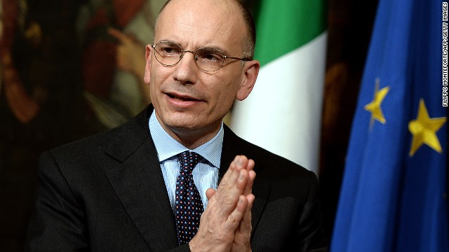 Italian Prime Minister Enrico Letta is shown in Rome's Palazzo Chigi Palace government office Wednesday.