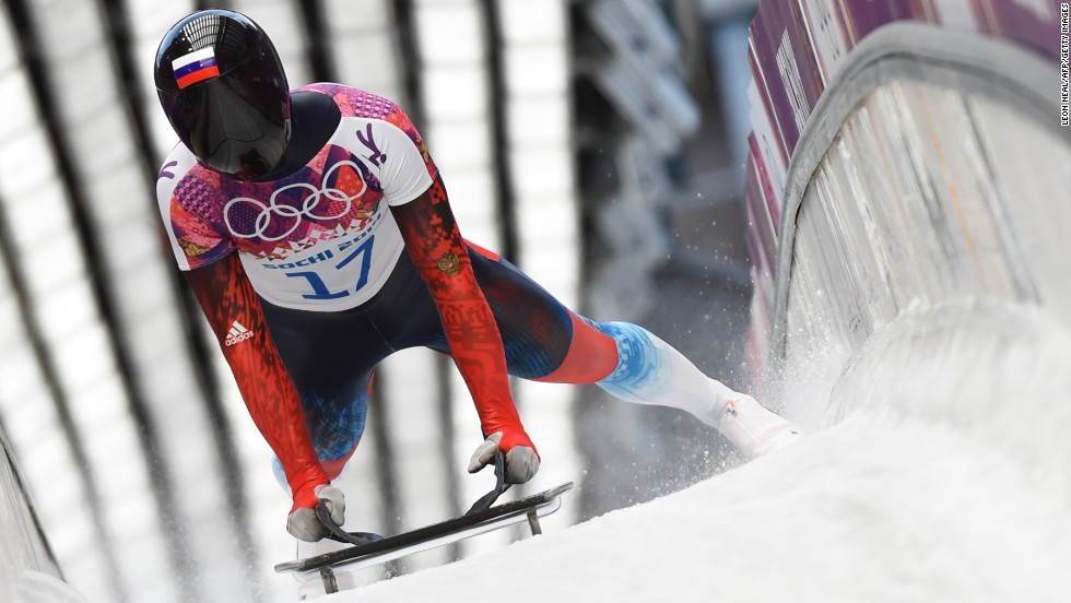 Russia's Nikita Tregybov brakes after a run in the men's skeleton on February 14.