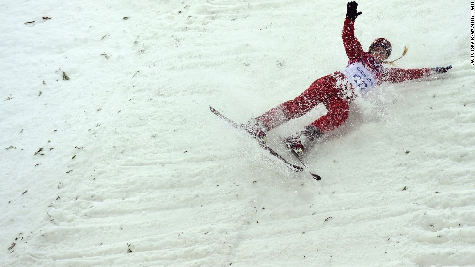 Russia's Alexandra Orlova crashes during the women's aerials.