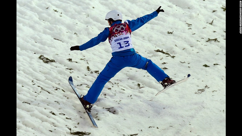 Belarus' Alla Tsuper competes in the women's aerials.