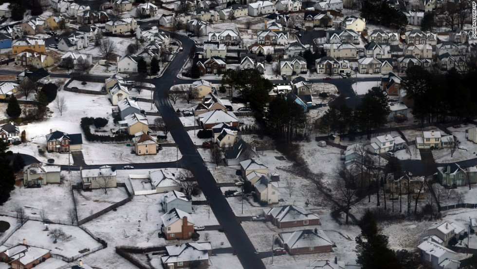 Snow and ice cover an Atlanta neighborhood on February 13.