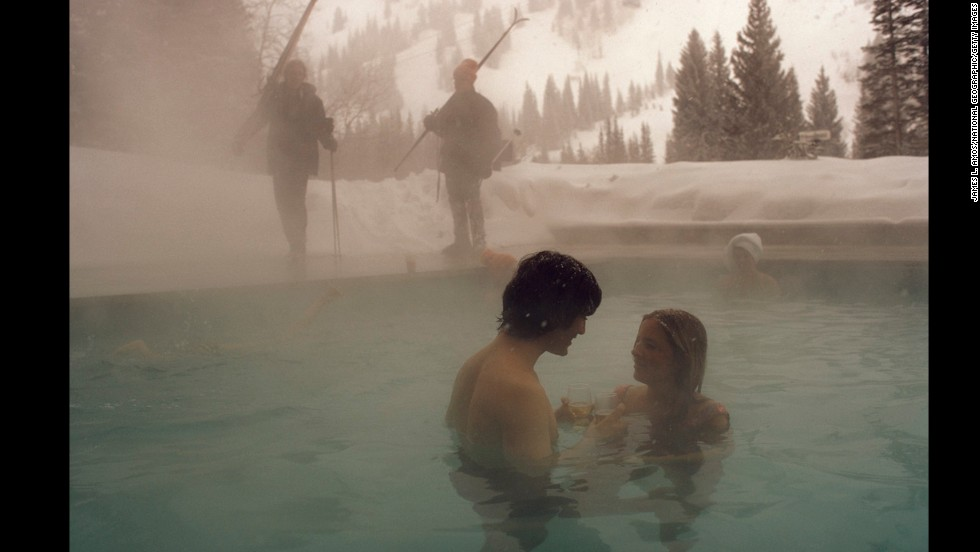 Showing a little skin in the '70s: A couple relaxes in a heated pool at the Snowbird Ski Resort in Snowbird, Utah, in 1975.