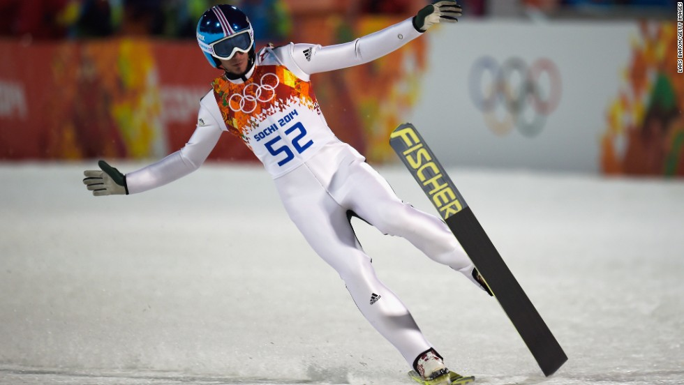 Robert Kranjec of Slovenia finishes a jump during the men's large hill ski jumping event Friday, February 14.