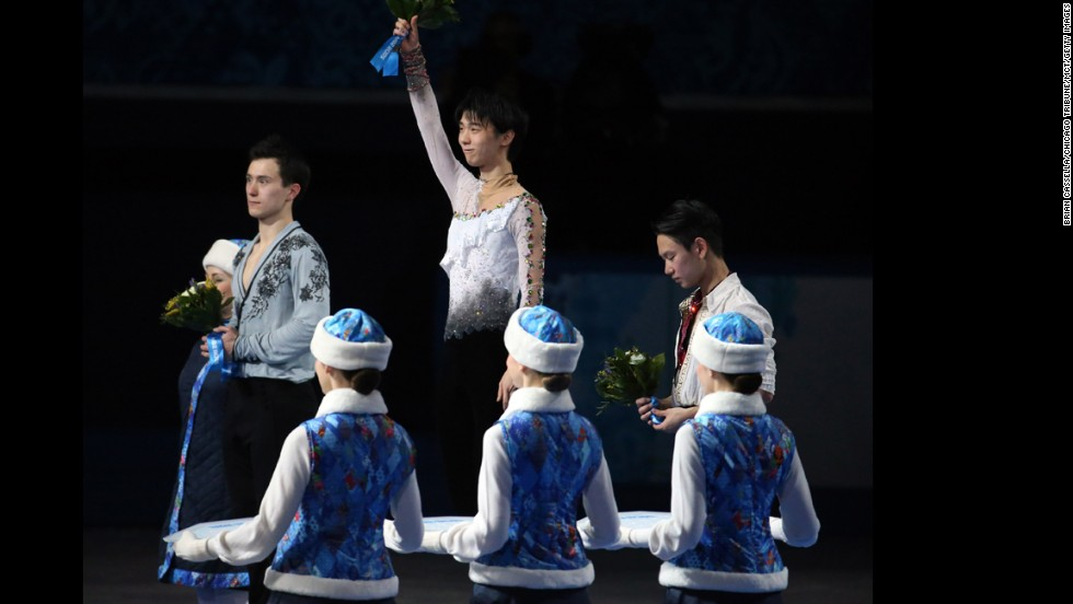 Yuzuru Hanyu of Japan celebrates after winning the gold medal in men's figure skating on February 14.