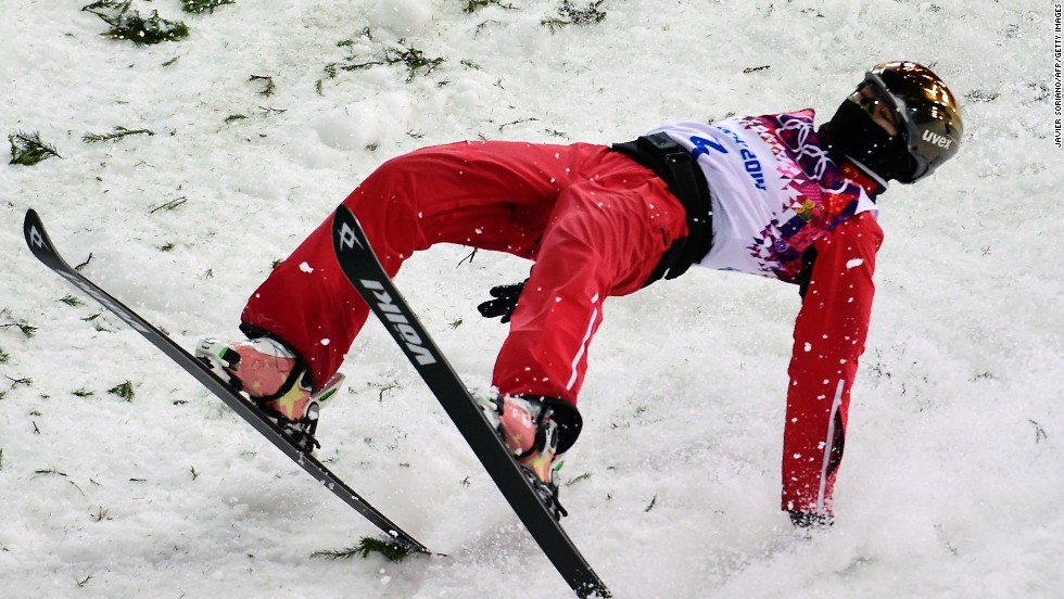 Silver medalist Xu Mengtao of China lands while competing in the women's aerials on Friday,  February 14.
