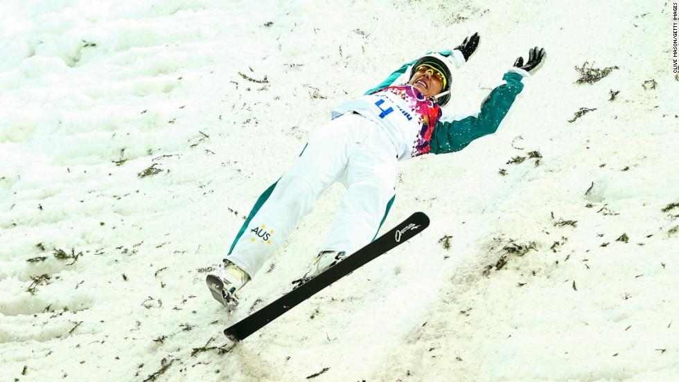Lydia Lassila of Australia crashes in the women's aerials on February 14.