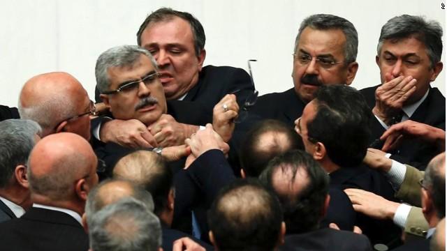 Turkish lawmakers brawl during vote