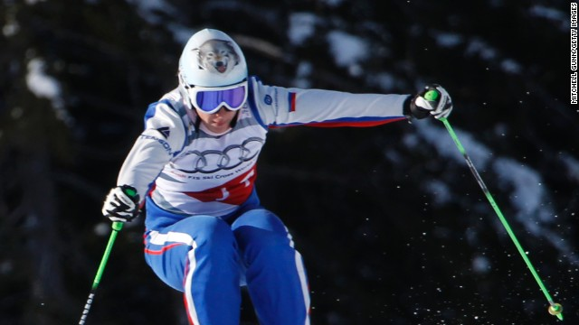 Maria Komissarova performs in a training session at a freestyle skiing event in Italy in 2012.