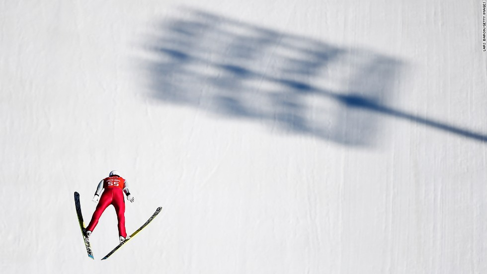 Eric Frenzel of Germany jumps during training for the large hill Nordic combined event February 15.