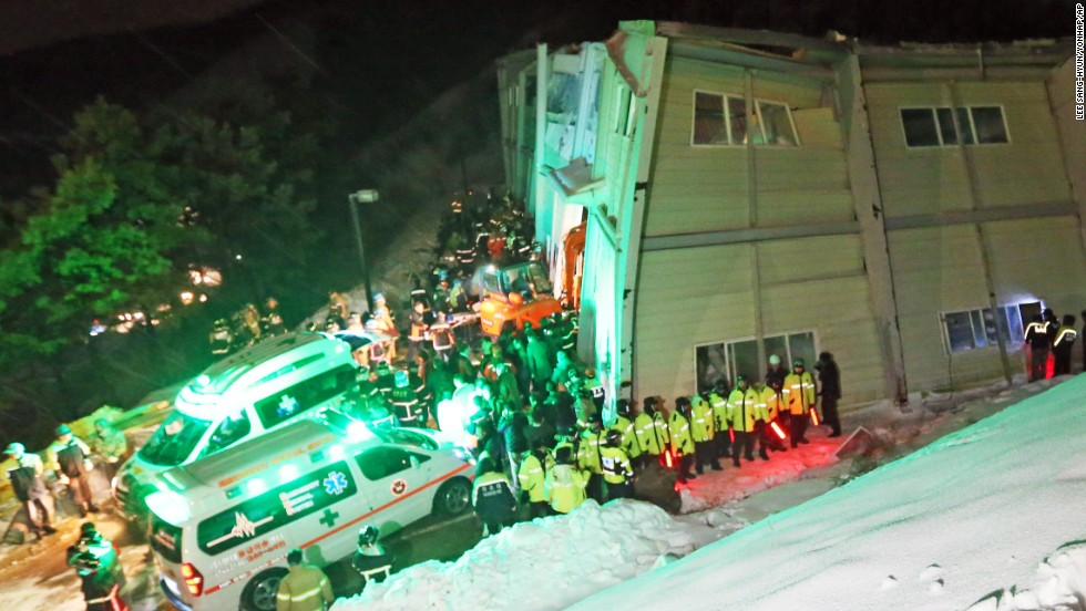 Though the cause of the collapse wasn't immediately determined, authorities said heavy snow was on the building's roof.
