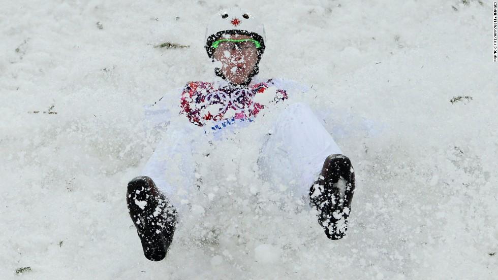 Canada's Travis Gerrits crashes during men's aerials.