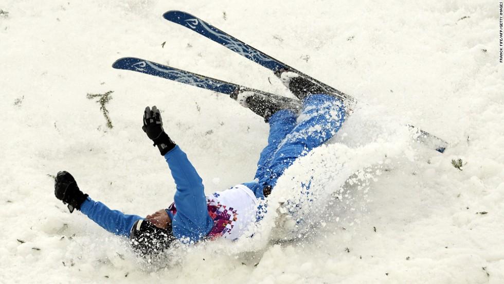 Denis Osipau of Belarus crashes during men's aerials.