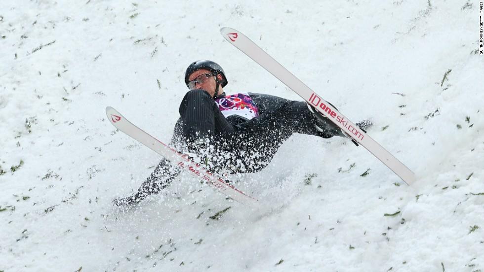 Alexei Grishin of Belarus crashes in men's aerials.