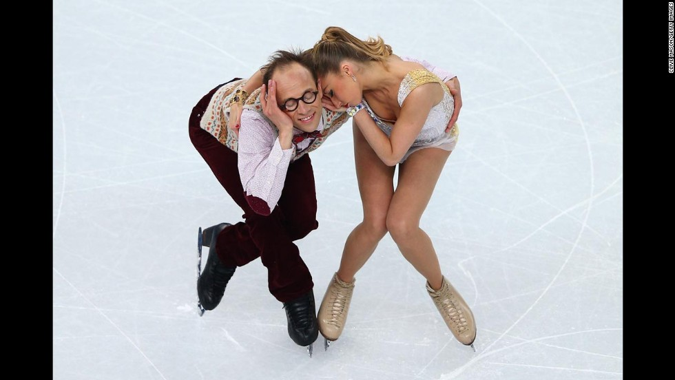 Nelli Zhiganshina and Alexander Gazsi of Germany compete in the ice dancing event on February 17.