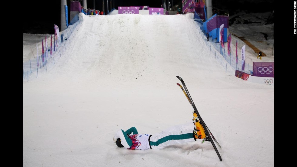 David Morris of Australia celebrates after his jump in men's aerials on February 17.
