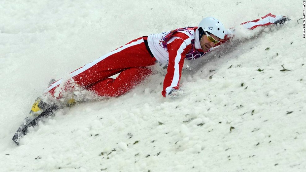 Switzerland's Renato Ulrich crashes as he competes in the men's aerials on February 17.