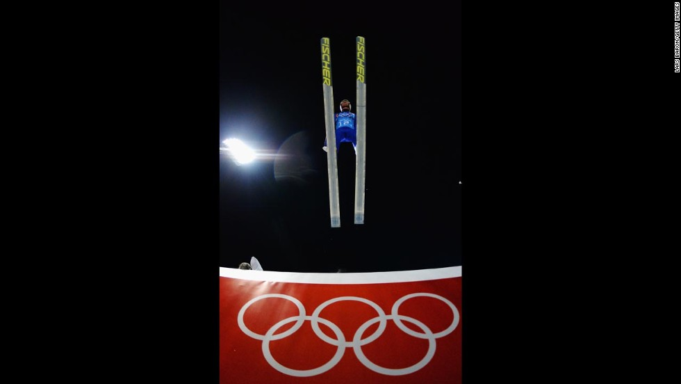 Gregor Schlierenzauer of Austria jumps during the team ski jumping event.