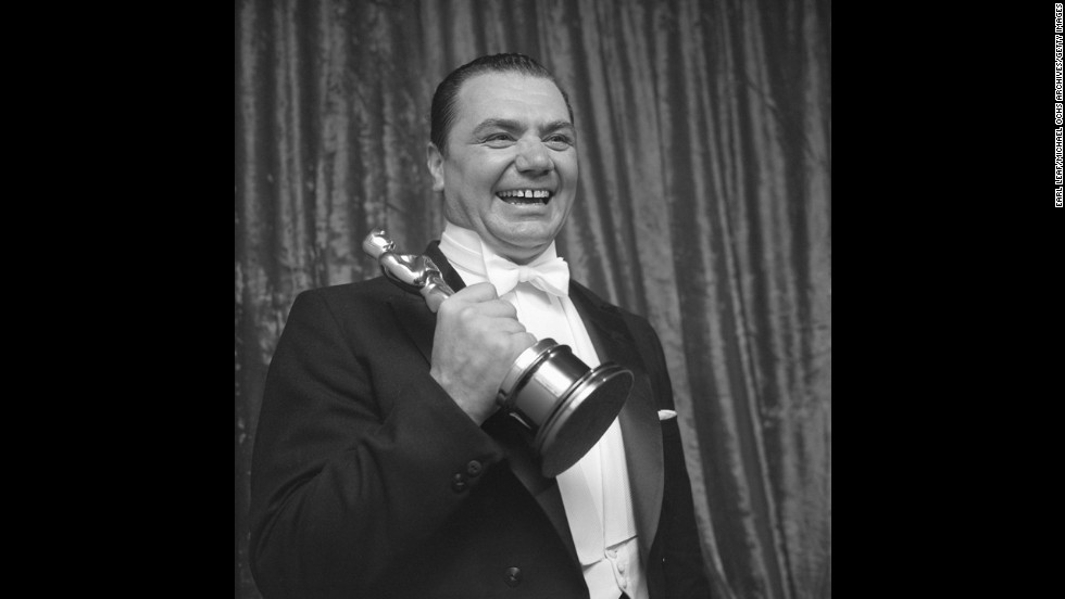 "Ernest Borgnine faced heavy competition for best actor, beating out James Dean (""East of Eden""), Frank Sinatra (""The Man With the Golden Arm""), James Cagney (""Love Me or Leave Me"") and Spencer Tracy (""Bad Day at Black Rock""). Backstage at the 1956 ceremony, Borgnine holds the Oscar for his portrayal of a lonely butcher in ""Marty."""