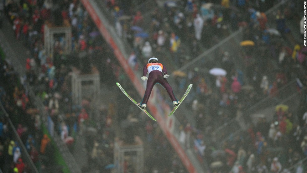 American Bryan Fletcher jumps during the large hill Nordic Combined event on February 18.