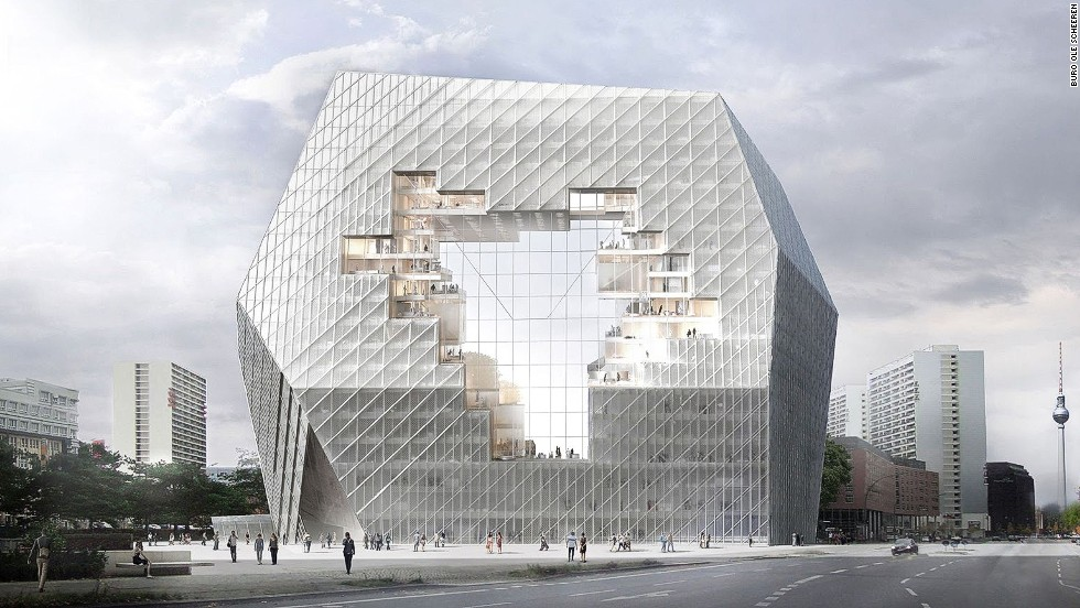 "<em>Axel Springer HQ, Berlin</em><br /><br />The architects at <a href=""http://www.buro-os.com/axel_springer_en/"" target=""_blank"">Büro Ole Scheeren</a> proposed this design for the new headquarters of Axel Springer, one of Europe's largest multimedia firms. The pixelated opening hints at the client's commitment to transparency. ""At the core of the new building floats an urban-scale void, establishing a visual axis between former East and West and conceptually reuniting the two sides,"" the architects write in their project description. ""The building emerges as a symbol of transparency and historic awareness."""