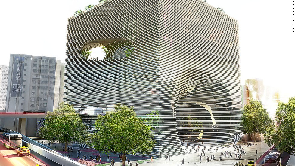 "<em>Technology, Entertainment & Knowledge Centre, Taipei</em><br /><br />Danish architect Bjarke Ingels proposed this large cube for the <a href=""http://www.big.dk/#projects-tek"" target=""_blank"">Technology, Entertainment & Knowledge Centre (TEK)</a> in Taipei. Its various holes are actually entry points and vantage points for pedestrians who can snake through the building on an internal staircase, which leads from ground floor to rooftop garden."