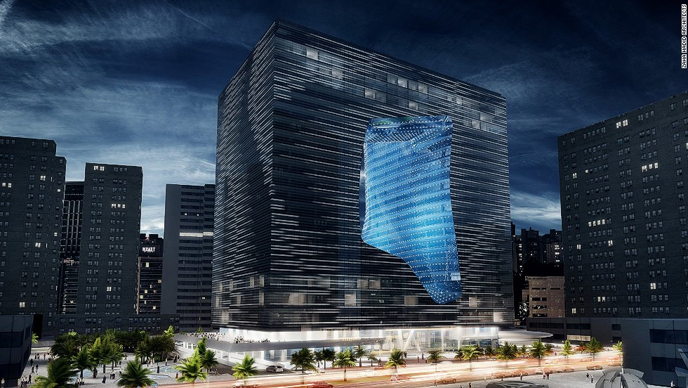 "<em>Opus Office Tower, Abu Dhabi</em><br /><br />According to its architects, a pixelated reflective façade will make the cube seem full during the day time. However, at night it ""dematerializes"" as specially installed lights flood the void."