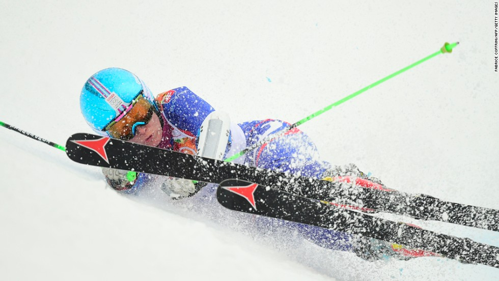 Slovakia's Kristina Saalova falls during a run in the women's giant slalom on February 18.