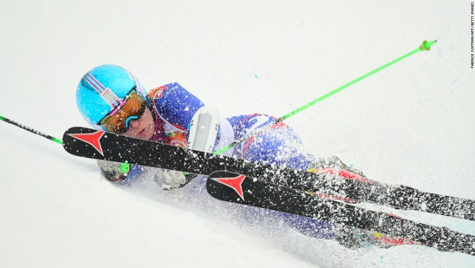Slovakia's Kristina Saalova falls during a run in the women's giant slalom on February 18.