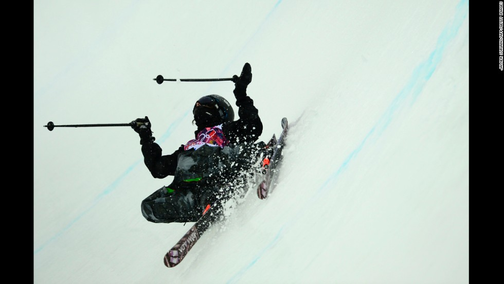 Peter Crook, a freestyle skier from the British Virgin Islands, competes in the men's halfpipe on February 18.