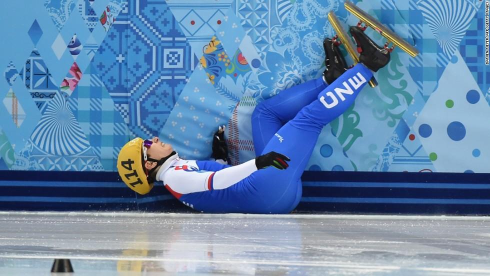 Czech short track speedskater Katerina Novotna falls as she competes in the 1,000 meters on February 18.
