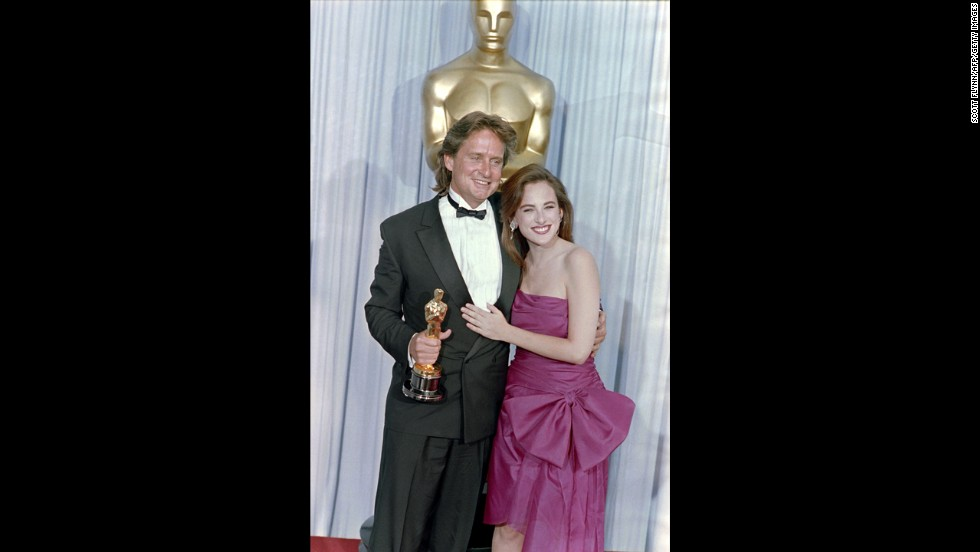 "Gordon Gekko's creed of greed was very, very good to Michael Douglas. The star -- and son of another frequent Oscar nominee, Kirk Douglas -- earned his first Oscar nomination and first win for best actor for his role as the ruthless corporate raider in ""Wall Street."" Here Douglas appears with Marlee Matlin at the 1988 ceremony."