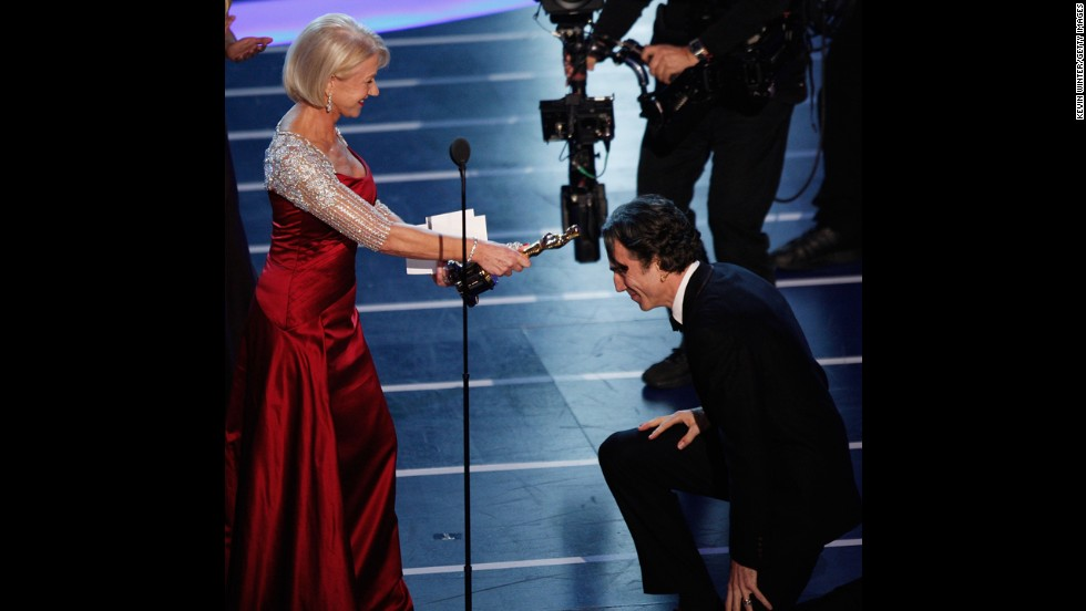"If Daniel Day-Lewis is in the running, chances are there will be an award for him. The actor won his second best actor Oscar for ""There Will Be Blood."" He receives the award from Helen Mirren at the 2008 ceremony."