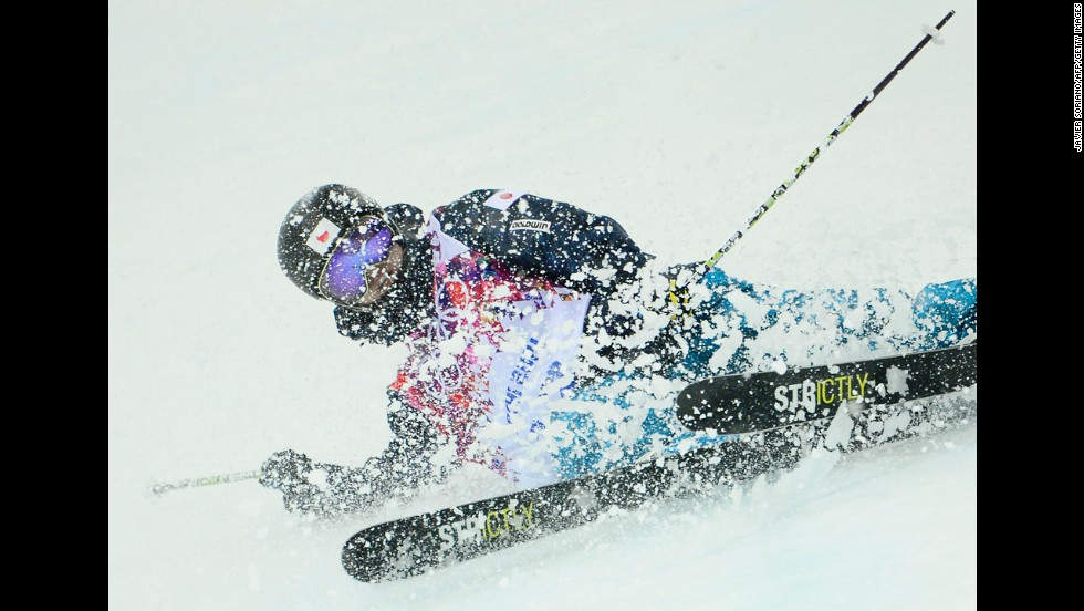 Japan's Kentaro Tsuda crashes in the men's halfpipe on February 18.