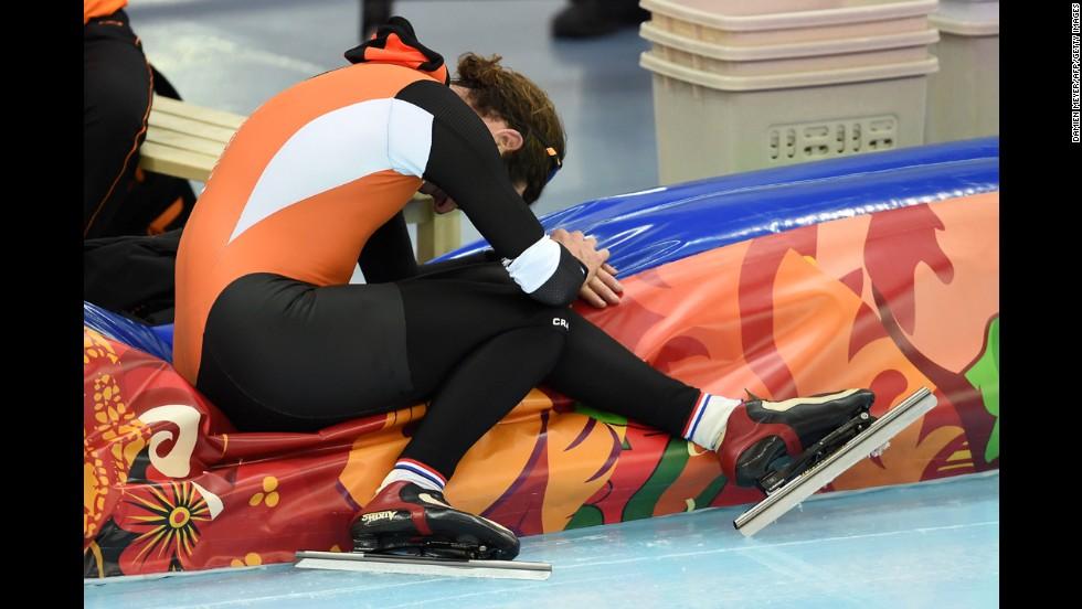 Bob de Jong, a Dutch speedskater, reacts after the men's 10,000 meters on February 18. He won bronze in the event.