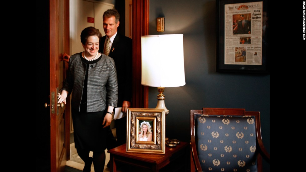 Sen. Scott Brown welcomes U.S. Solicitor General and Supreme Court nominee Elena Kagan to his office in Washington in May 2010.