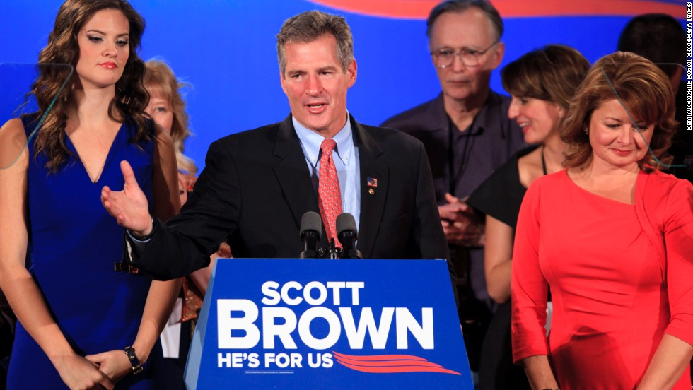 Sen. Scott Brown gives concession speech in Boston after losing his reelection bid to Democrat Elizabeth Warren in November 2012.