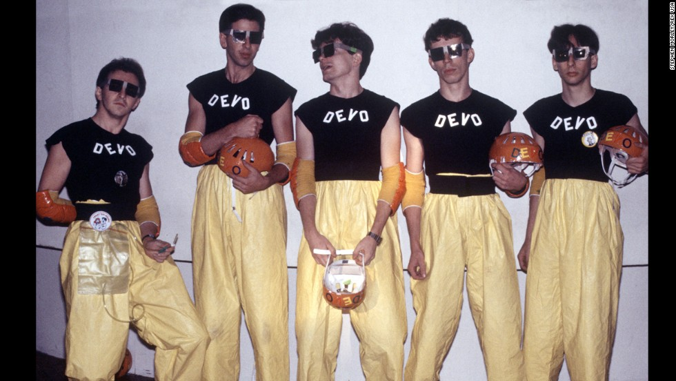 Devo, seen here in 1978, had a machine-like persona, using flowerpot hats, industrial jumpsuits and futuristic sounds.