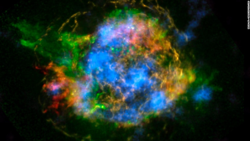 NASA's NuSTAR telescope array generated the first map of radioactivity in the remnants of an exploding star, or supernova. Blue in this image of Cassiopeia A represents radioactive material.